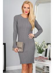 Sivé úpletové šaty
