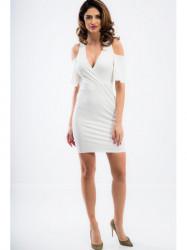 Smotanové mini šaty s odhalenými ramenami