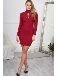 Štýlové bordové mini šaty #2