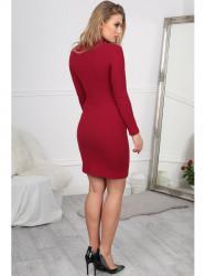 Štýlové bordové mini šaty #5