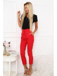 Štýlové dámske nohavice s vysokým pásom MP44721 červené