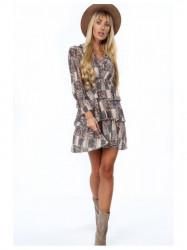 Štýlové dámske šaty vzorované 8597 cappuccino