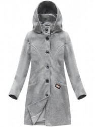 Svetlo sivý dámsky dlhý prechodný kabát 6801