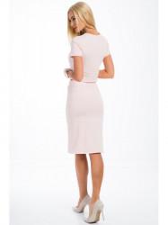 Svetloružová súprava sukne a croptopu