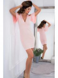 Svetloružové mini šaty s odhalenými ramenami a1a6a4aef9