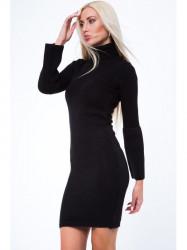 Svetrové šaty s golierom MP32096, čierne
