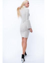 Svetrové šaty s rolákom MP32096, béžové