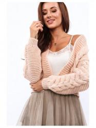 Teplý sveter s vrkočovým vzorom 0352 púdrový