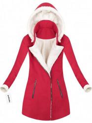 Teplý zimný kabát červený (65ART)
