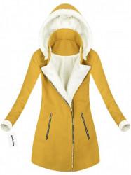 Teplý zimný kabát horčicový (65ART)