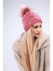 Tmavo ružová dámska čiapka C9