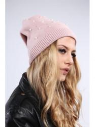 Tmavo ružová dámska čiapka s korálkami C17