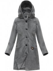 Tmavo sivý dámsky dlhý prechodný kabát 6801
