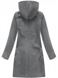 Tmavo sivý dámsky dlhý prechodný kabát 6801 #1