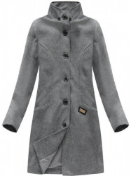Tmavo sivý dámsky dlhý prechodný kabát 6801 #2