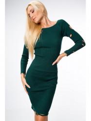Tmavo zelené šaty s dierami