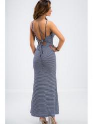 Tmavomodré pásikavé šaty