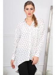 Trendy biela košeľa s potlačou