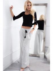 Trendy krémové nohavice s čiernymi pásikmi #1