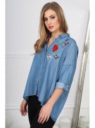 Trendy riflová košeľa s nášivkami BB20677