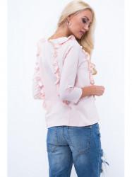 Tričko s volánmi 3291, svetlo ružové