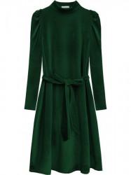 Velúrové šaty s viazaním v páse 487ART zelené