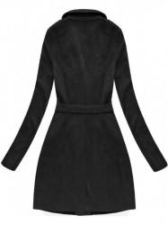 Zamatový kabát 6004BIG, čierny