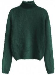 Zelený dámsky krátky chlpatý sveter 466ART
