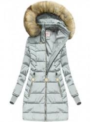 Zimná bunda s kožušinou, strieborná (W721)