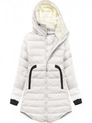 Zimná bunda s lemovanými vreckami 6002B, biela