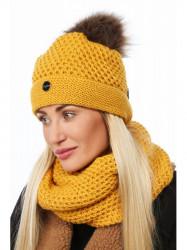 Zimný set čiapka+ nákrčník C42 žltý