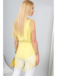 Žltá tunika so strapcami a gumičkou na páse