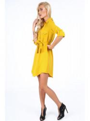 Žlté dámske košeľové šaty 5065