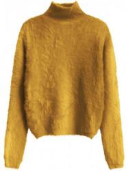 Žltý dámsky krátky chlpatý sveter 466ART