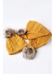 Žltý set čiapka + šál C20 #2