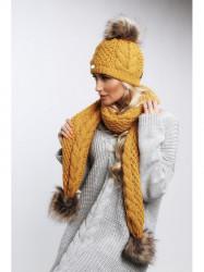 Žltý set čiapka + šál C20 #3