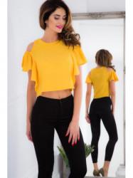 Žltý top s motýľovým rukávom