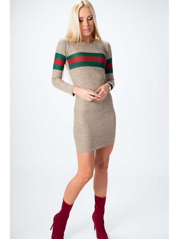 Béžové šaty so zeleno červeným pruhom 6513 - Dámske úpletové šaty ... f057a55e9df