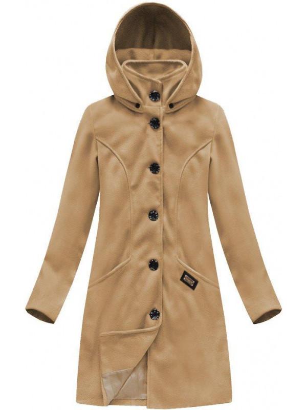 Béžový dámsky dlhý prechodný kabát 6801 - Dámske bundy - Locca.sk f4a606f3c94
