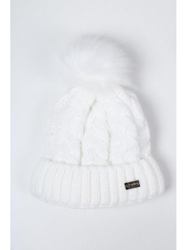 494095da5 Biela dámska zimná čiapka C25 - Dámske čiapky - Locca.sk