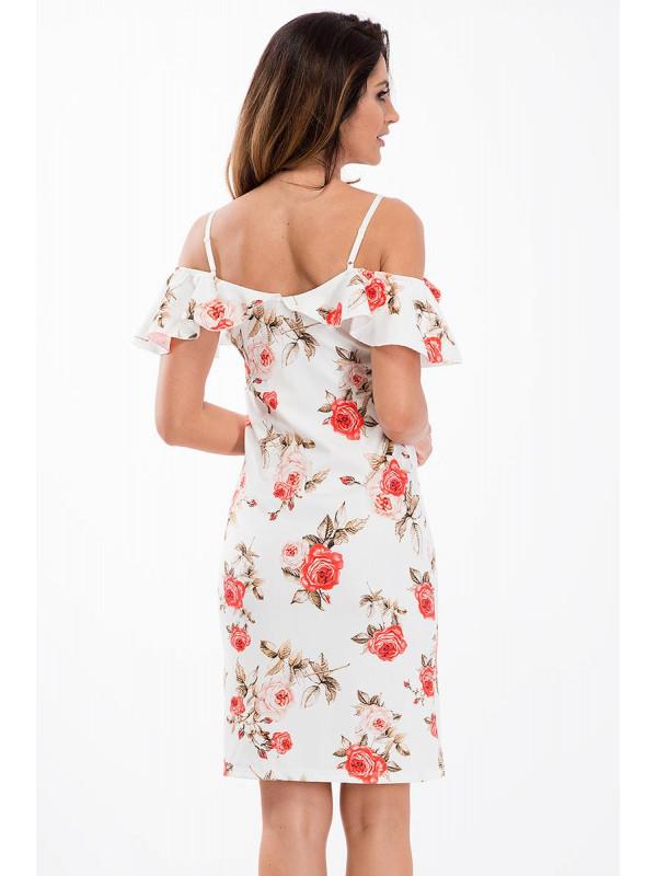 Biele kvetované šaty s volánom 8457 - Dámske letné šaty - Locca.sk 966aa82dbeb