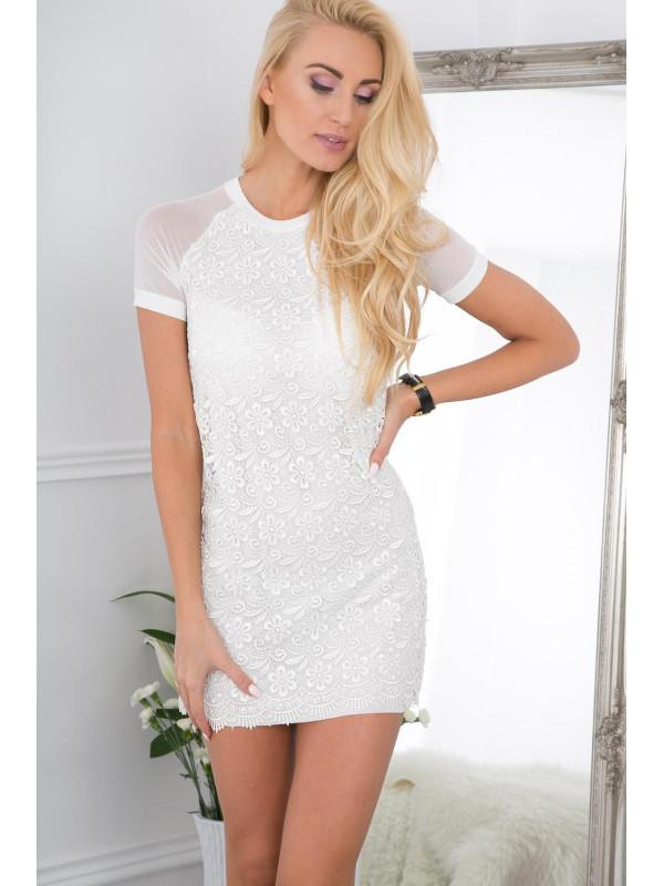 0dc4684ccff6 Biele šaty s čipkou - Dámske ležérne šaty - Locca.sk