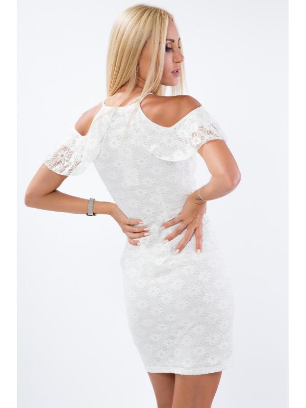 Biele šaty s volánom a čipkou - Mini šaty - Locca.sk 22784e5c90c