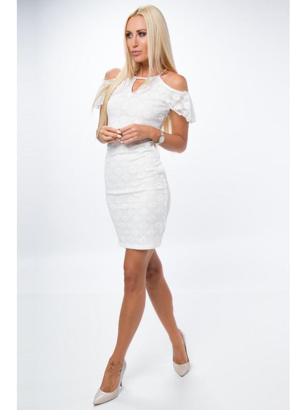Biele šaty s volánom a čipkou - Mini šaty - Locca.sk 90768efc398