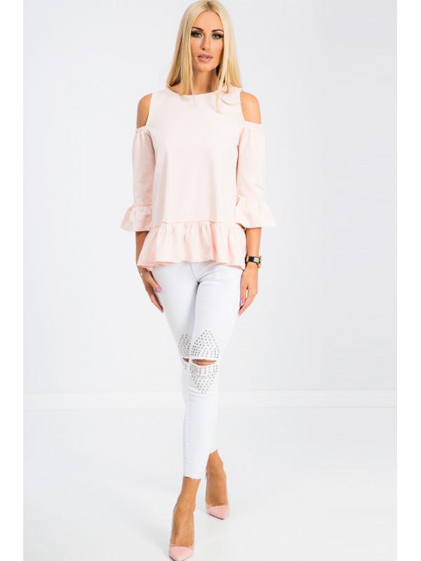 Biele skinny jeans zdobené