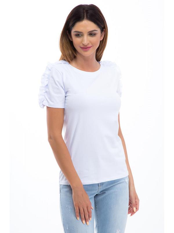 b75e5057fa9d Bielé tričko s volánmi - Dámske tričká - Locca.sk
