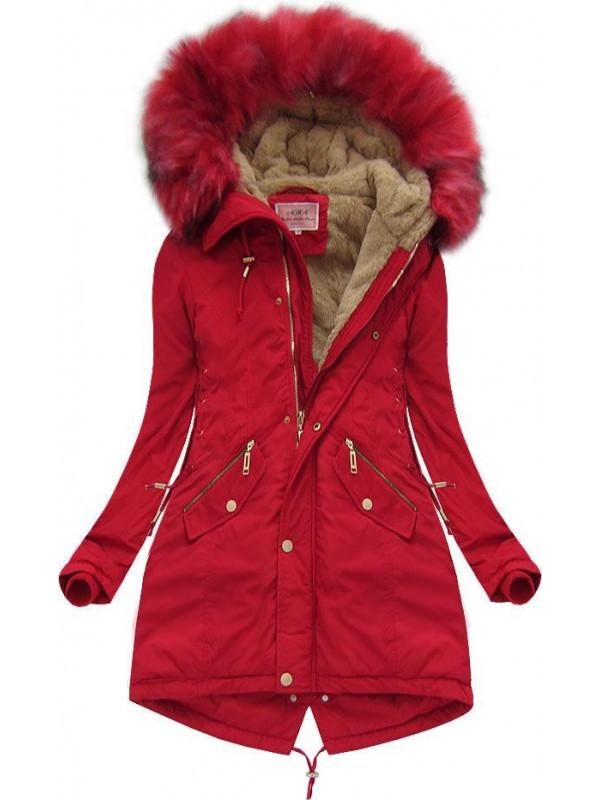 Červená krátka zimná bunda (W136) - Dámske bundy - Locca.sk 345d1a4d828