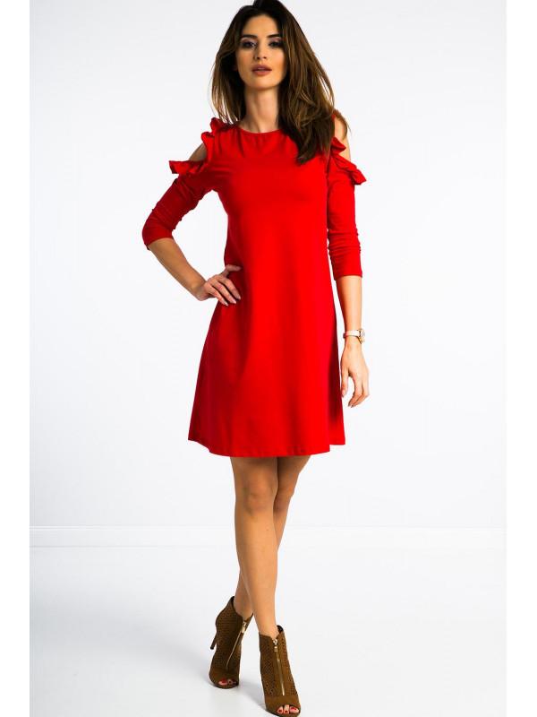 Červené šaty nad kolená - Dámske ležérne šaty - Locca.sk d7aaf4f2eb3