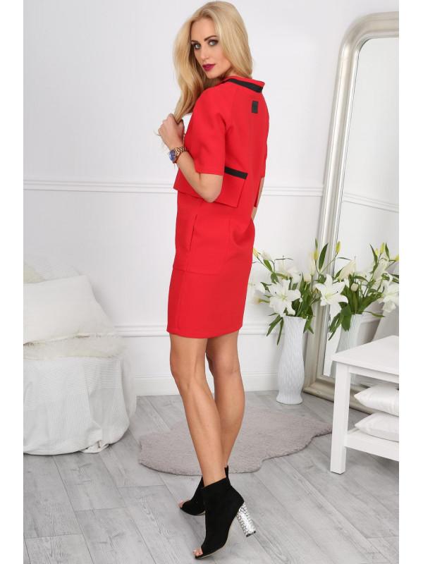2c3459954ac4 Červené šaty s ozdobnými vreckami - Dámske elegantné šaty - Locca.sk