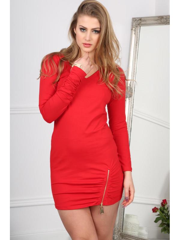 01e8e373c281 Červené šaty so zipsom - Dámske ležérne šaty - Locca.sk